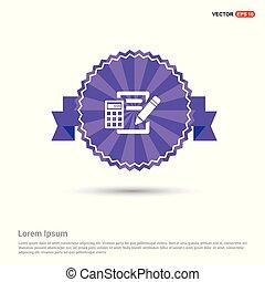 Calculation Icon - Purple Ribbon banner