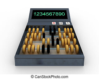 Calculator-abacus isolated on white background