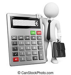 calculator., affari, persone., uomo affari, bianco, 3d
