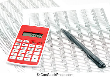 Calculator and ballpoint and Accounting documents