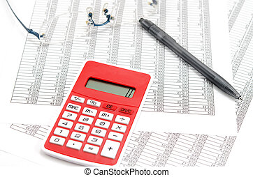 Calculator and ballpoint and glasses and Accounting documents