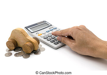 Calculator and car wood and hand on white background