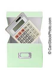 Calculator and Cardboard Box