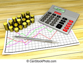 calculator and coins on financial chart pape