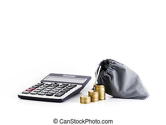 calculator and coins with money bag for loans concept