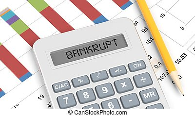 Calculator and documents with info charts and word Bankrupt