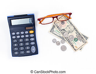 Calculator and dollar money on white background
