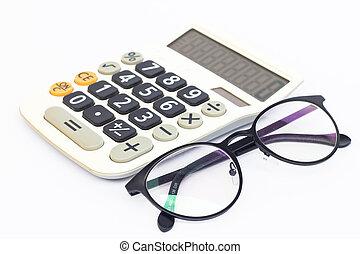 Calculator and eyeglasses isolated on white background