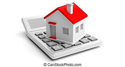 Calculator and house on white background. 3d illustration