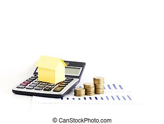 Calculator and money coins stack with house paper for loans concept