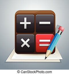 calculator and note pencil - This is icons vector...
