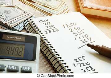 Calculator and notepad with calculations after counting money.