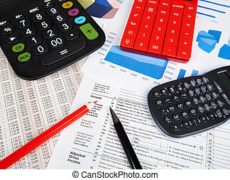 Calculator and office objects. Accounting and financial...