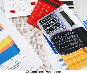 Calculator and office objects.