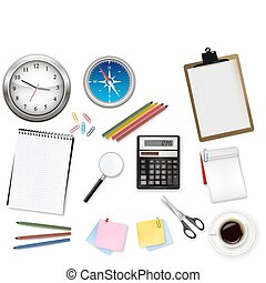 Calculator and office supplies. - Notebook, calculator and...