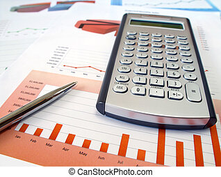 Calculator and pen. - Calculator and pen on the investment...