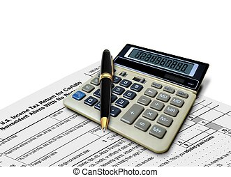 Calculator and Pen on Tax Form