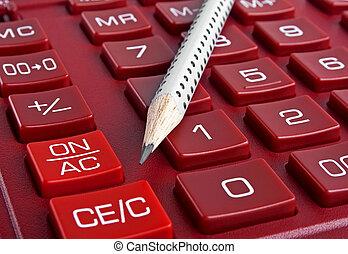 Calculator and pencil, close up