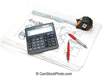 Calculator and pencils over the  engineering drawings