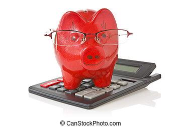 calculator and piggy-bank