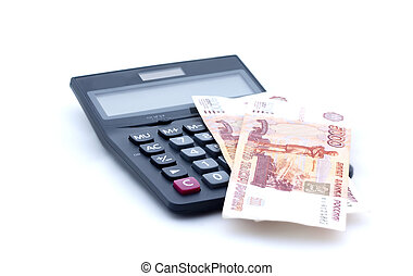 Calculator and russian banknotes on white background