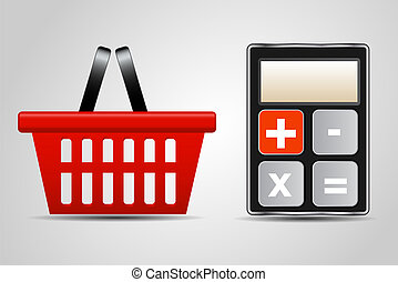 calculator and shopping basket vector illustration