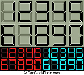Calculator and table clock digits vector template.