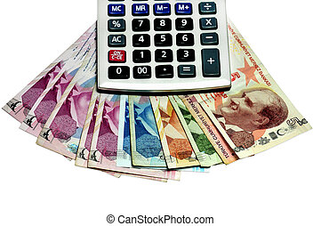 calculator and the Turkish lira on a white background