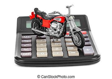 Calculator and toy motorbike