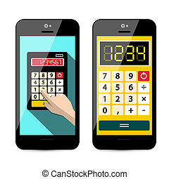 Calculator App on Mobile Phone Isolated on White Background - Vector