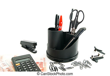 calculator, banknotes and other office stationery