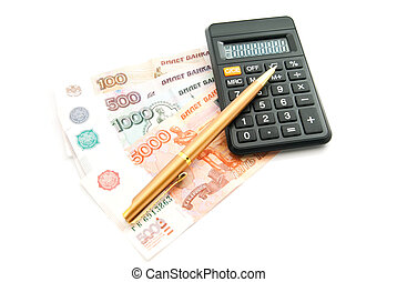 calculator, banknotes and pen on white