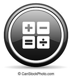 calculator black circle glossy web icon