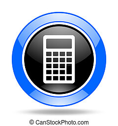 calculator blue and black web glossy round icon