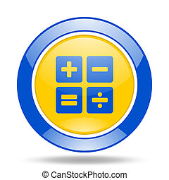 calculator blue and yellow web glossy round icon