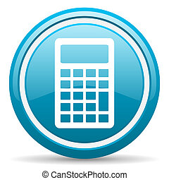 calculator blue glossy icon on white background - blue...