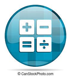 calculator blue round modern design internet icon on white background