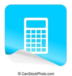 calculator blue sticker icon