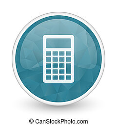 Calculator brillant crystal design round blue web icon.
