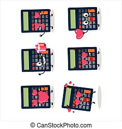 Calculator cartoon character with love cute emoticon