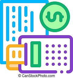 Calculator Coin Icon Vector Outline Illustration