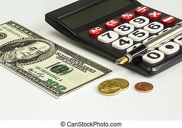 Calculator; Coins, pen