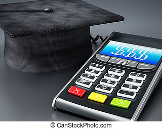 Calculator connected to mortarboard. 3D illustration