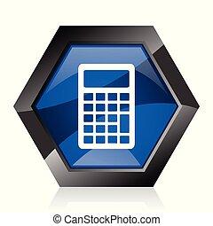 Calculator dark blue glossy hexagon geometric diamond vector web icon with reflection on white background. Modern design hexagonal internet button.