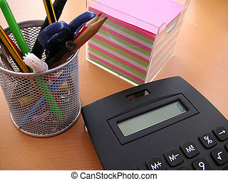 calculator desktidy - desktidy with calculator and notepaper