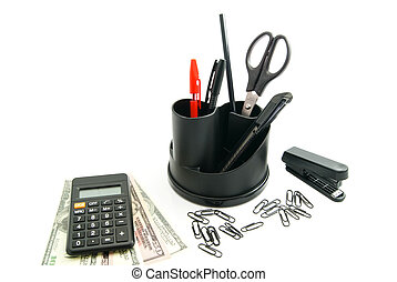 calculator, dollar banknotes and other stationery