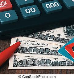 Calculator, dollar bills, pen and credit cards.