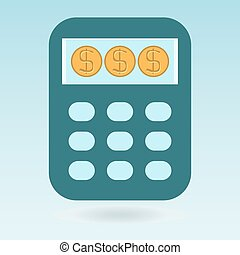 Calculator, dollar coins