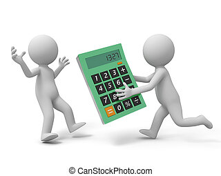 calculator - A 3d man taking a calculator to another one
