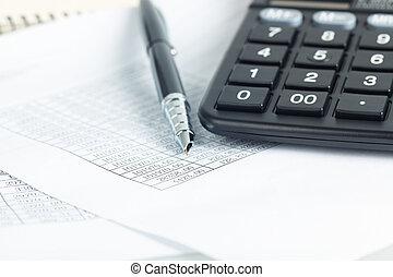 calculator en pen, met, financieel, documenten